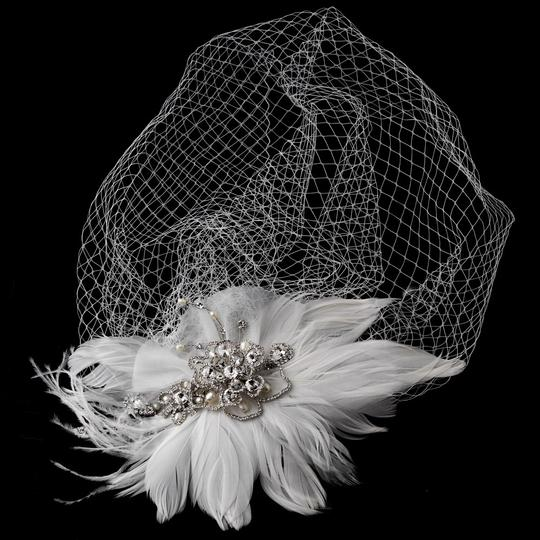 Vintage Couture Feather Bridal Headpiece With Bird Cage Veil Clip In White Or Ivory