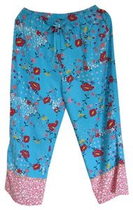 Anne Carson Silk Beaded Relaxed Pants Turquoise Floral