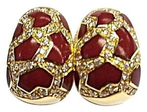Roberto Coin ROBERTO COIN Ladies Earrings With Enamel and Diamonds 18k yellow gold
