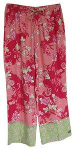 Anne Carson Silk Beaded Capris Coral and Pink Multi