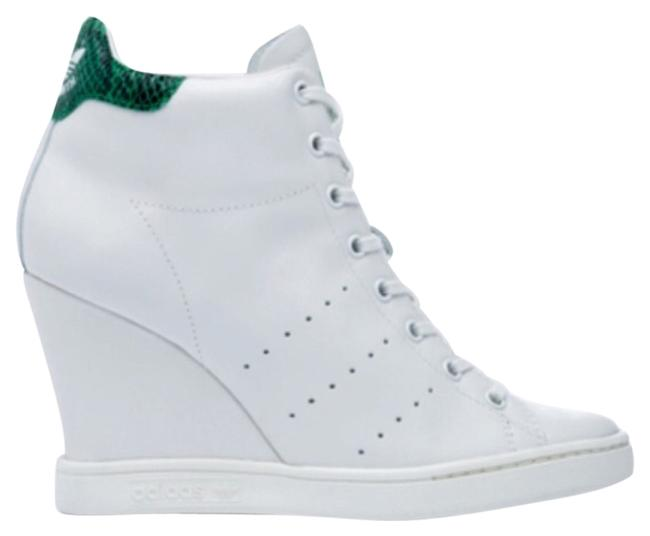 Item - White with Green Accent Up Sneakers Wedges Size US 7 Regular (M, B)