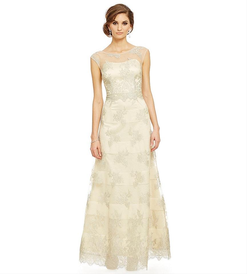 Kay Unger Butter/Ivory Organza Lace Metallic Ball Gown Formal ...