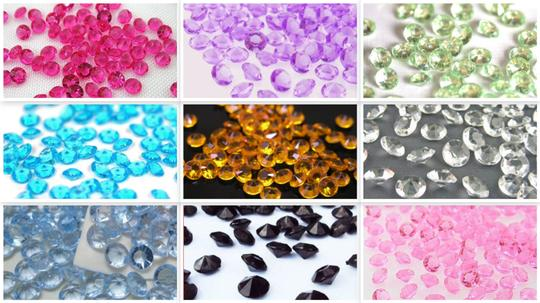 Pink - 2000x 4.5mm 1/3 Ct Acrylic Diamond Scatters Confetti