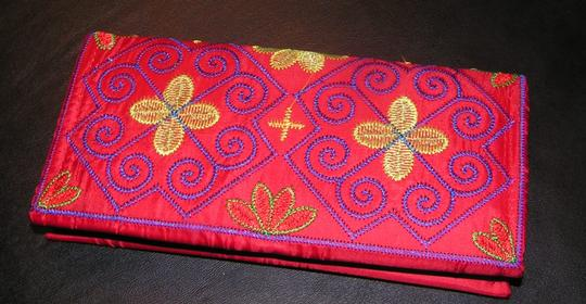 Unknown Multi Colored Embroidered Wallet Check Book Cover