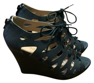 Restricted Lace Up Faux Leather Booties Black Wedges