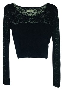 Abercrombie & Fitch Lace Crop Longsleeve Top Navy blue