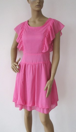 Pink Cotton Lining: Polyester. Side Zipper. Ruffle Short Sleeves Casual Bridesmaid/Mob Dress 6 (S)