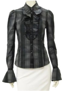 Badgley Mischka Flared Sleeve Badgley Business Victorian Vintage Button Down Shirt Grey Plaid