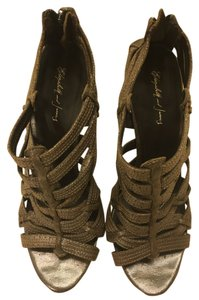 Elizabeth and James Caged Shoe Sexy Pump Bronze/Pewter Metallic Pumps