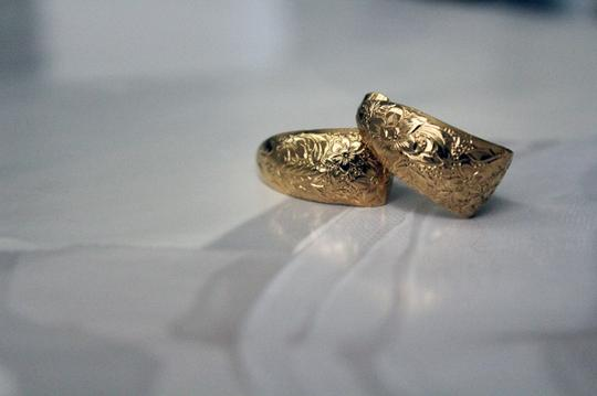 Other Gold Embossed Curve Clip-On Earrings