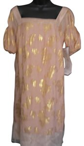 Laundry by Shelli Segal short dress Pink with gold pattern Silk Metallic Floral Half Sleeves Midi on Tradesy