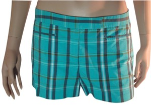 Theory Shorts Turquoise Plaid