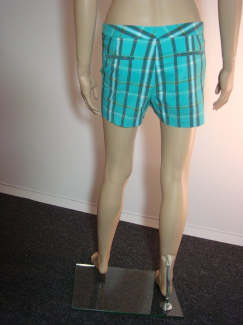 Theory Designer Mini Size 8 Size Medium Size 8 Designer Shorts Turquoise Plaid