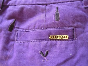 Married to the Mob Low-rise Embroidered Mini/Short Shorts Grape (Purple) w/ Small, Black Champagne Bottle/Champagne Glass Icons