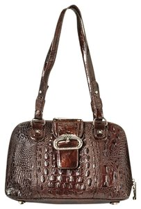 Madi Claire Dome Genuine Gold Hardware Satchel in Brown (Croco Embossed Patent Leather)