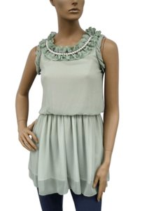 Green Ruffle Collar W/ Pearls Chiffon Sleeveless Fashion Dress