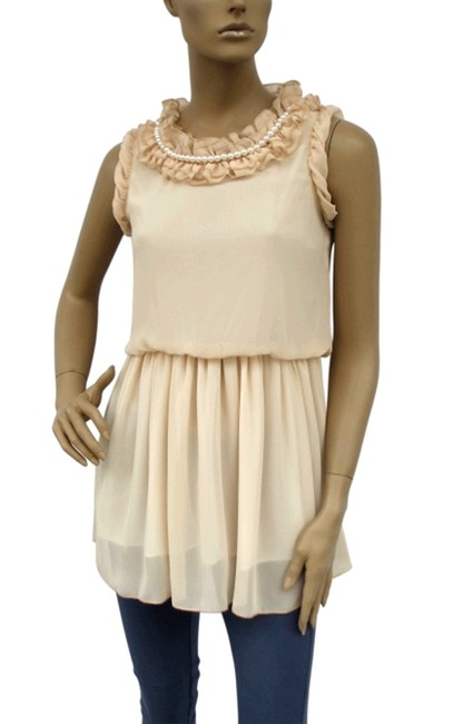 Other Pearl Chiffon Ruffle Top Beige