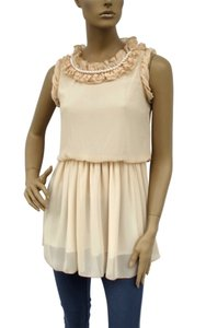 Beige Ruffle Collar W/ Pearls Chiffon Sleeveless Fashion Dress