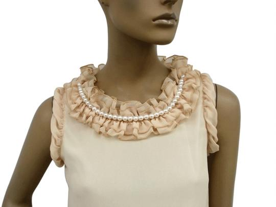 Beige Chiffon Ruffle Collar W/ Pearls Sleeveless Fashion Feminine Bridesmaid/Mob Dress Size 14 (L)