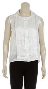 Chanel Silk Sleeveless Pleated Top Cream
