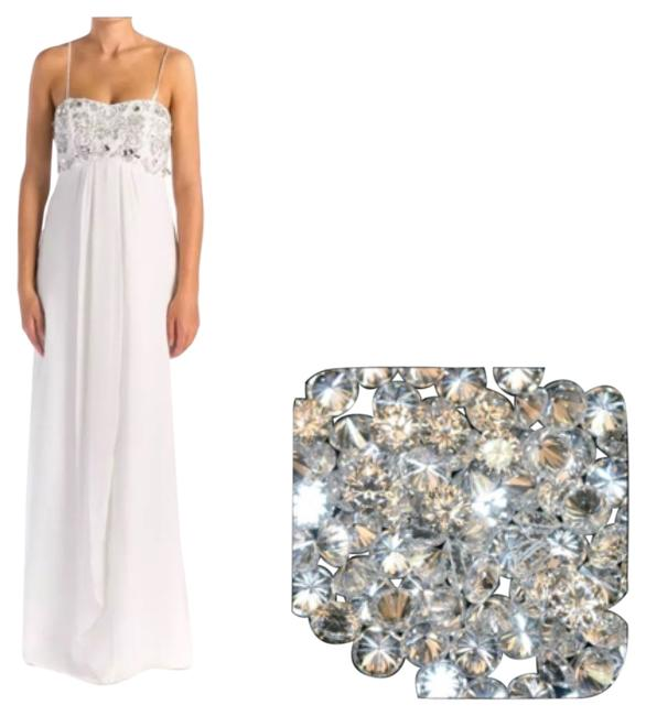 Item - White Empire Waist Crystal Bodice Long Casual Maxi Dress Size 12 (L)