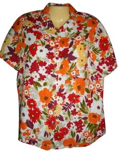 Hot Cotton Button Front Floral Short Sleeve Linen Top Multicolored
