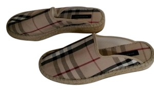 Burberry Beige with Black and White Check Print Flats