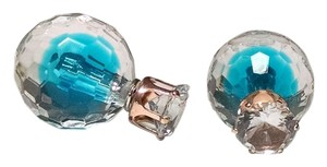 New Double Sided Blue Clear Ball Stud Earrings Large Jewelry J1323