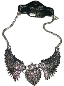 New Angel Wings Bib Necklace Silver Tone Large J1324