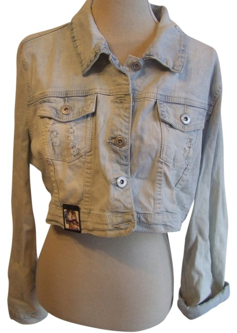 Dollhouse Spring Summer Casual Distressed ACID WASH BLUE DENIM Womens Jean Jacket