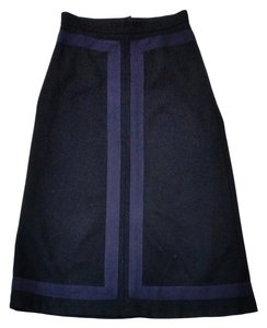 Marc Jacobs Black Navy Wool Long Skirt
