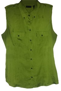 New York & Company Sleeveless Button Up Button Down Shirt Green