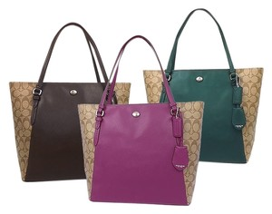 Coach F30301 Tote in SILVER/KHAKI/PASSION BERRY
