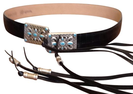 Brighton Black Leather Tassel Silver & Turquoise Brighton Belt Med