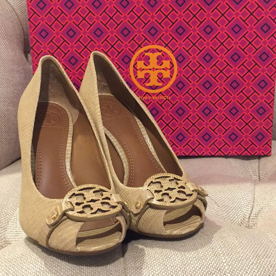 cf27eebd71f8 Tory Burch Trench Tan Mini Miller Open-toe 95mm Wedges Size US 5.5 Regular ( M