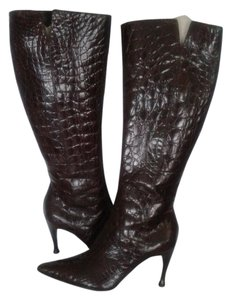 Sergio Rossi Item Like New Dark Chocolate Crocodile Boots
