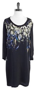 Reiss short dress Black Floral Print Silk Shift Shift on Tradesy