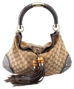 Gucci Indy Gg Canvas Leather Hobo Bag