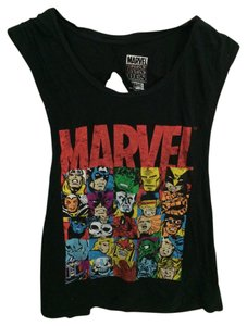 Marvel Cut-out Oversized Graphic Tee Top Black