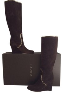 Gucci New In Box Chocolate Brown Boots