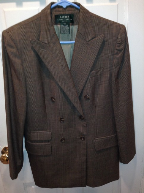 Ralph Lauren Petite Double Breasted Worsted Wool Glen Plaid Blazer