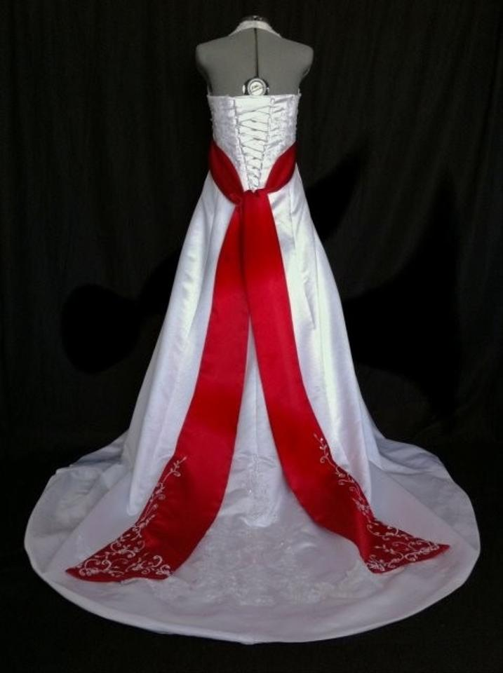 David 39 s bridal with red sash lace up wedding dress tradesy for Wedding dress with red sash
