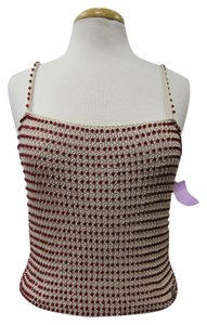 Chanel Beaded Knit Top Cream & Ruby