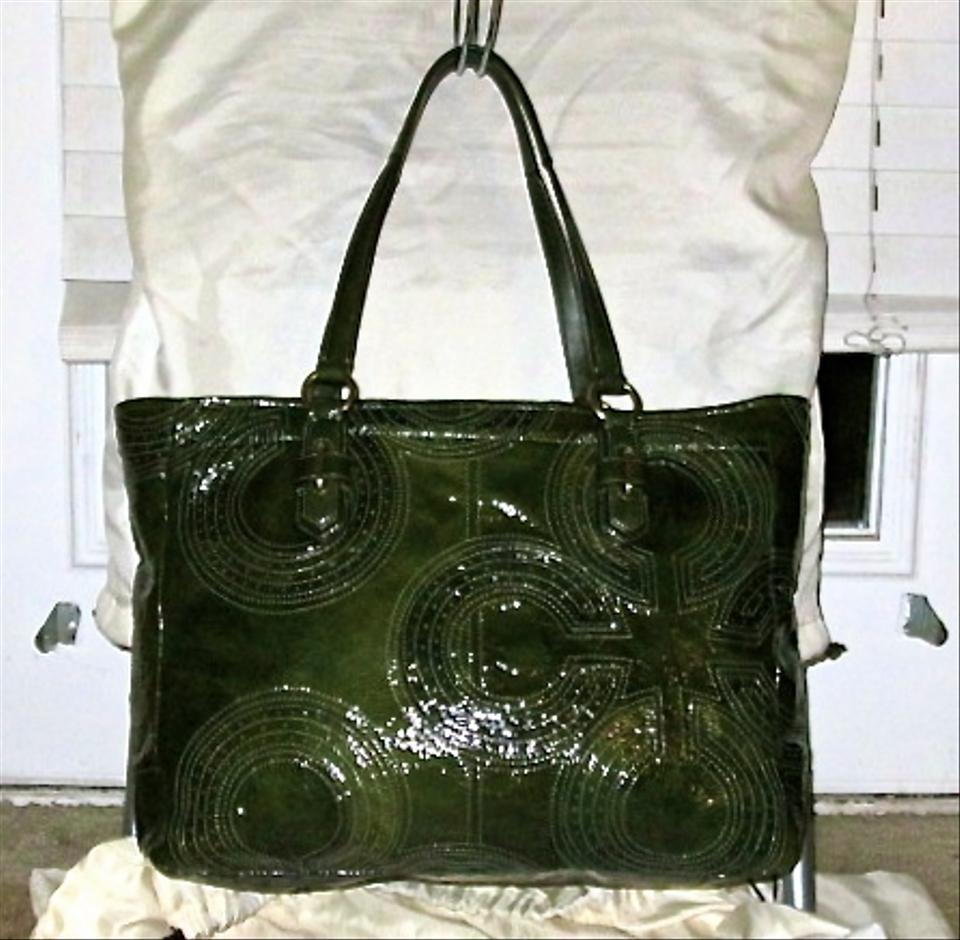 a0051d515f Coach Chelsea Inlaid Perforated Shoppers (F17879) Olive Green Patent ...