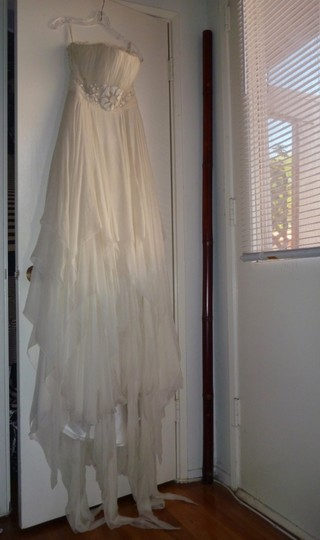 Rosa Clará Ivory Silk Chiffon Mael Modern Wedding Dress Size 8 (M)