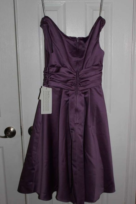 Item - Plum Silk Short Satin Off-the-shoulder A-line with Ruching Style 83168 Formal Bridesmaid/Mob Dress Size 14 (L)