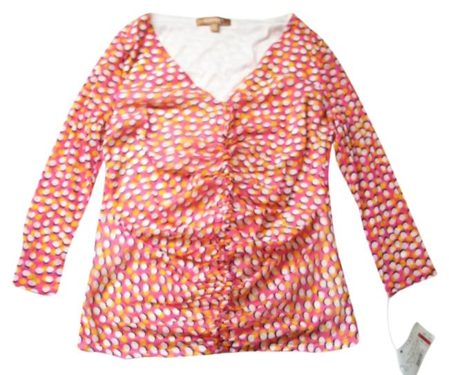 Ellen Tracy Lined Sheer Sleeve Ruffle At Front V Neck Lined Top Pink and White