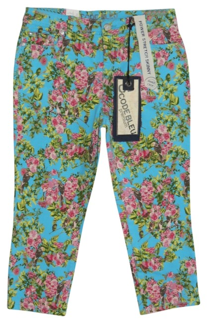 Preload https://item1.tradesy.com/images/code-bleu-blue-floral-new-with-skinny-pants-size-petite-10-m-705125-0-0.jpg?width=400&height=650