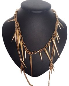 Express Double Chain Gold Spike Necklace