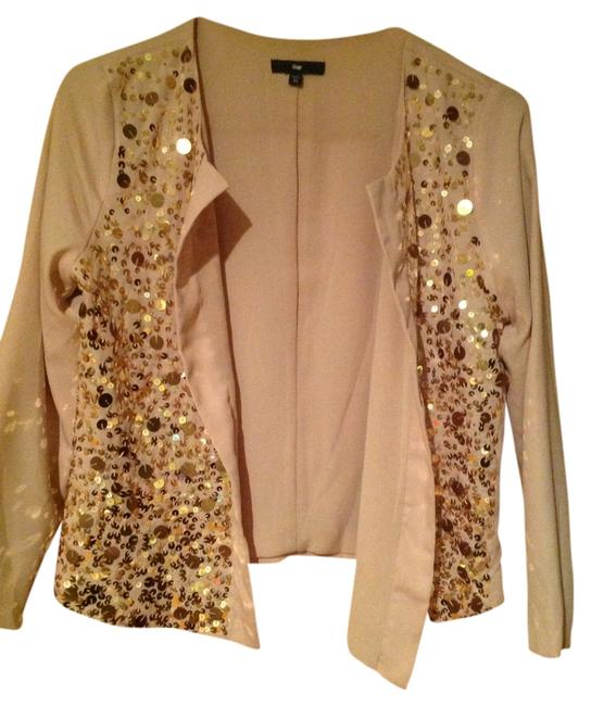 Gap Sparkle Chiffon Blazer Dressy Jacket Top Peach